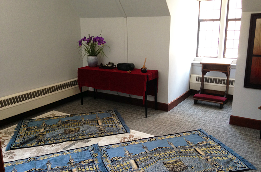 Available for prayer or meditation groups, typically reserved for Muslim prayer in the evenings
